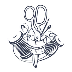 Sewing and cutting symbol
