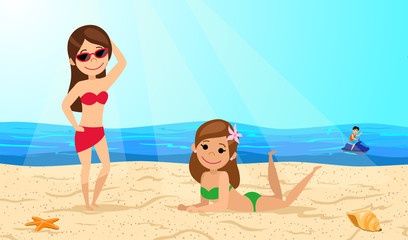Young girls on the beach. Women sunbathing on the sand. The cartoon style. Vector illustration.