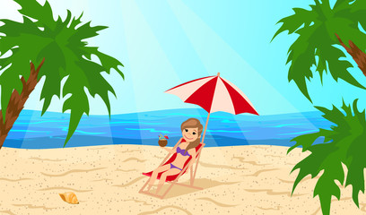 Girl in a lounge chair under an umbrella on the beach. The cartoon style. Vector illustration.