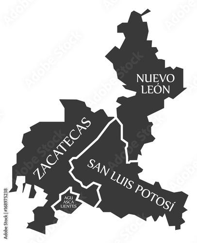 Zacatecas Nuevo Leon San Luis Potosi Aguascalientes Map Mexico