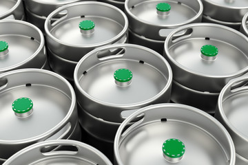 Metal beer kegs background