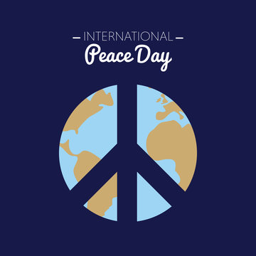 International peace day with the Earth forming the peace symbol