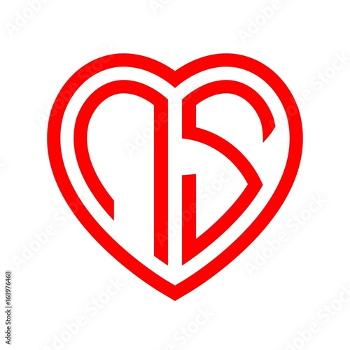 Initial Letters Logo Ns Red Monogram Heart Love Shape Stock Image