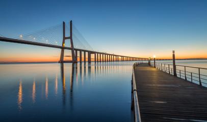 Sunrise in Lisbon, under the Vasco da Gama Bridge, portugal