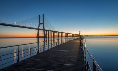 Sunrise in Lisbon, under the Vasco da Gama Bridge, portugal