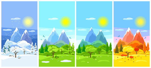 Wall Murals Blue Four seasons landscape. Banners with trees, mountains and hills in winter, spring, summer, autumn.