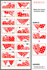 Valentine's Day themed visual puzzle: Match the halves of picture cards with decorative hearts. Answer included.