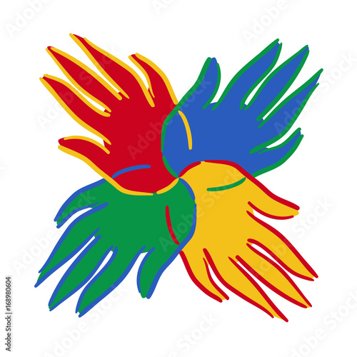 Brightly Coloured Hands Symbol Showing Unity Stock Image And