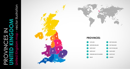 Vector map of United Kingdom and provinces COLOR