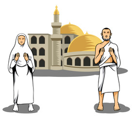Vector illustration of hajj pilgrim praying in front of mosque