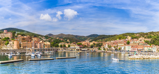 Wall Mural - View of Rio Marina village and harbour, Elba islands, Tuscany, Italy