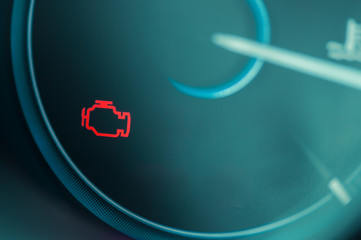 Check engine light on dashboard of modern car