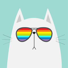 White cat wearing sunglasses eyeglasses. Rainbow color lenses. LGBT sign symbol. Cute cartoon funny character. Kitten in eyeglasses. Fashion animal. Blue background. Isolated. Flat design
