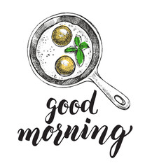 Breakfast dish. Fried eggs in a frying pan. Food elements. Vector illustration. Menu, signboard template with modern brush calligraphy style lettering.