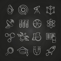 Science line icons set on chalkboard
