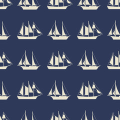 Simple sailboat or ships seamless pattern design