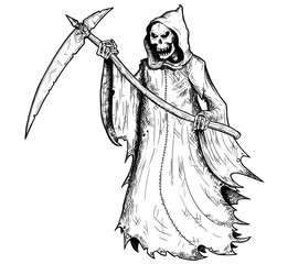 Hand Drawing Illustration of Halloween Grim Reaper