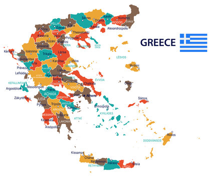 Greece - map and flag – illustration