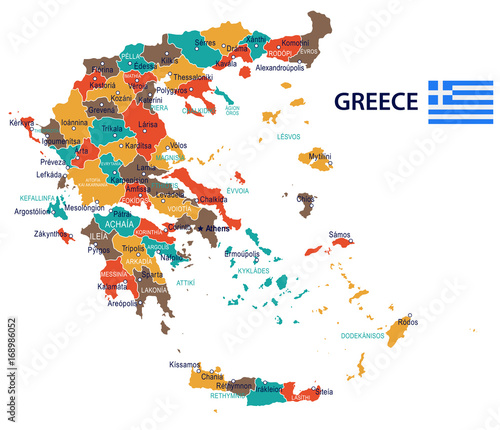 Greece - map and flag – illustration\