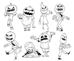 Set of Cute Hand Drawing Halloween Pumpkin Zombie Illustrations
