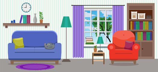 Cozy elegant light interior of living room with an armchair, a sofa, green tree in the window, various decorations and cat sleeping. Flat style, design template