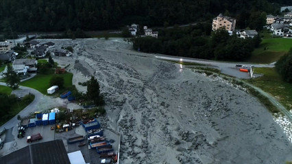 Still image taken from video shows the remote village of Bondo in Switzerland after a landslide struck it
