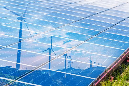 renewable energy concept. double exposure.