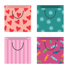 Set of cute shopping bags, different texture, flat style. Isolated on white background.
