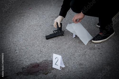 The crime scene, murder, investigation, police find rejected