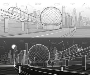 City infrastructure and transport illustration. Monorail railway. Train move over flyover. Spherical building. Modern town. Airplane fly. Towers and skyscrapers. White lines. Vector design art