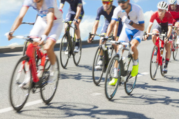 Group of cyclist during a race, motion blur