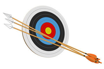 Archery practice target and a bundle of arrows isolated on a white background, 3D rendering