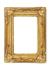 Picture Frames Series, isolated on White Background Cut-Out: ornamental gold antique