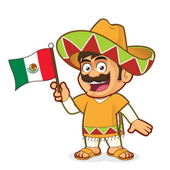Mexican man holding a mexican flag