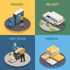 Postal Service Isometric Icons Square