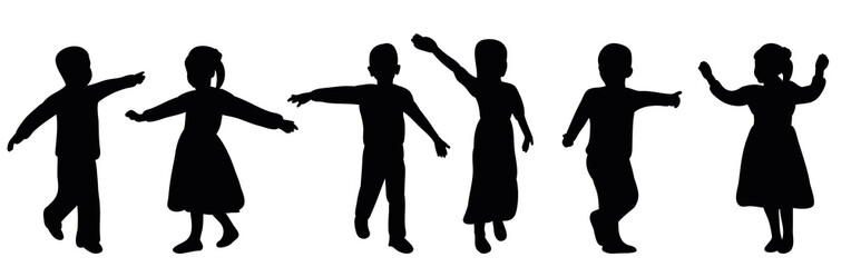silhouette children playing, joy