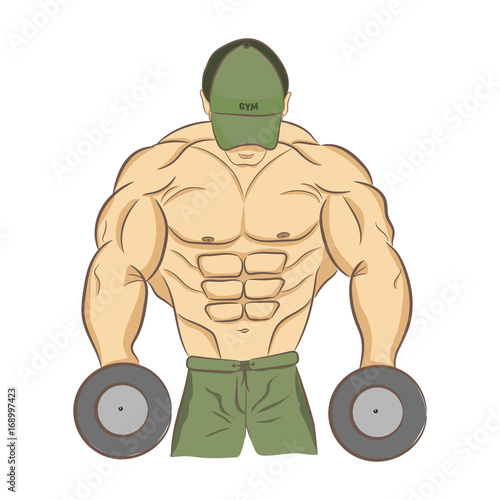 Muscular Bodybuilder With Dumbbells Strong Man