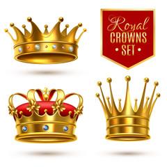 Realistic Royal Crown Icon Set
