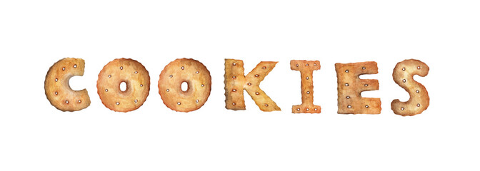 word COOKIES made of real cookies. Hand drawn watercolor painting isolated on white background
