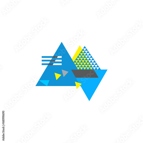 Abstract Geometric Blue And Yellow Composition Made In Bauhaus Style