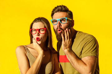 Bearded young adult man and beautiful freckled girl