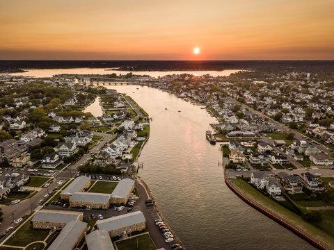 Aerial of Belmar NJ Sunset