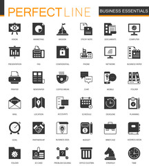 Black classic Business Essential icons set.