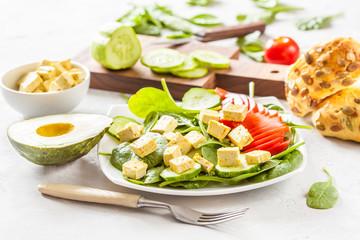 Vegetarian green salad with tofu.