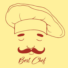 Silhouette of head chef, cartoon style, beautiful flat icon, cut