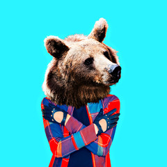 Hipster Bear. Minimal collage art.