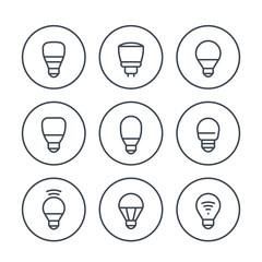 led light bulbs icons set on white