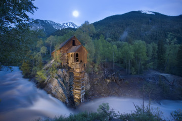 Dusk image of  historic Crystal Mill in Marble Colorado also known as the Lost Horse Mill.