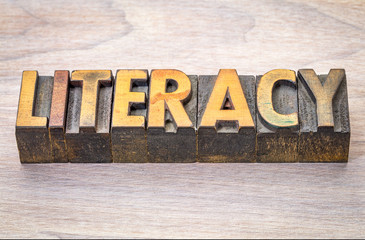 literacy word abstract in woodtype