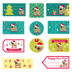 Set of vector elements for Christmas and New Year design. Labels, stickers, tags for gifts, invitations and congratulations.